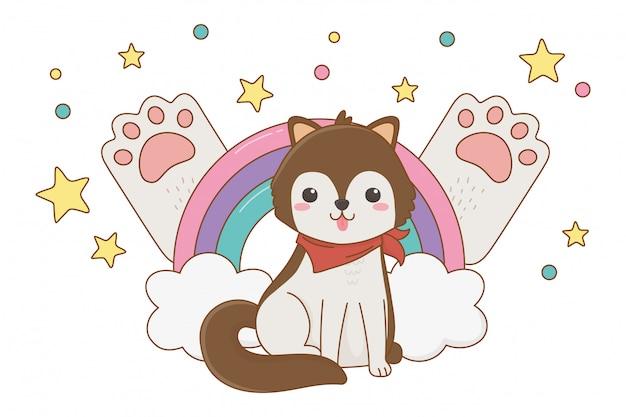 Geïsoleerde hond cartoon clip-art illustratie