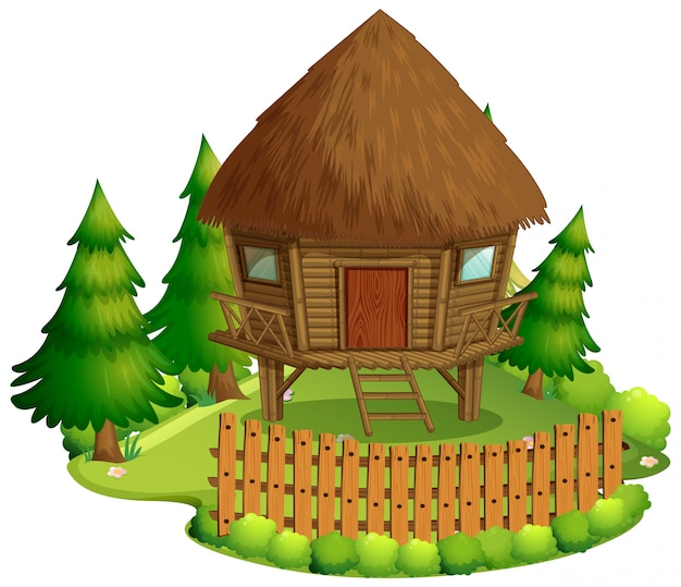 Geïsoleerde hut in de natuur op een witte achtergrond