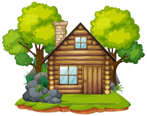 Geïsoleerde hut in het bos
