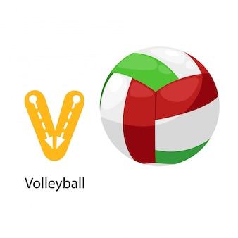 Geïsoleerde illustratie alfabetbrief v-volleybal