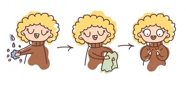 Geïsoleerde illustratie stap voor stap instructies voor een kind: handen wassen, afnemen met een handdoek. hygiëne, netheid, onderwijs, gezondheid.