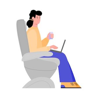 Geïsoleerde illustratie van een passagier die in een vliegtuig zit