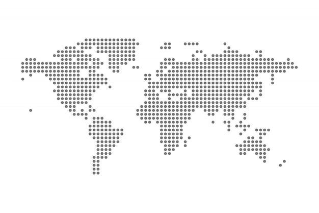 Geïsoleerde illustratie van gray political world map vector