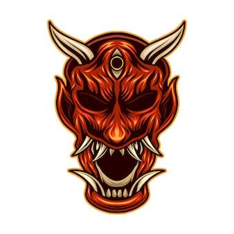 Geïsoleerde illustratie van het de duivelsmasker van oni de japanse