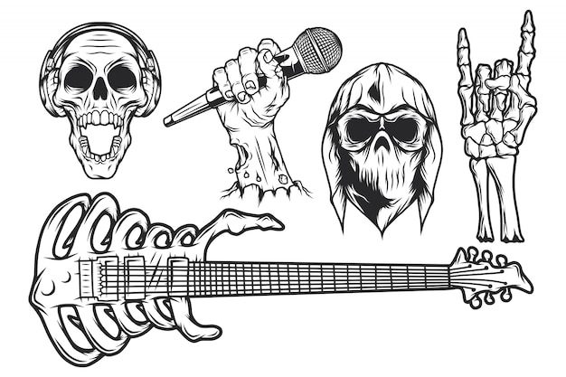 Geïsoleerde illustraties instellen. schedel in bandana en hoodie, schedel met koptelefoon, zombiehand met microfoon, skelethand