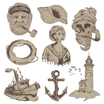 Geïsoleerde illustraties set - oude kapitein, dode kapitein, matroos meisje, vissersboot, vuurtoren, zeeschelp en reddingsboei