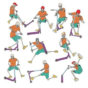 Geïsoleerde illustraties set van 10 verschillende skeletten op een scooter.