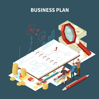 Geïsoleerde isometrische bedrijfsstrategiesamenstelling met businessplanbeschrijving en abstracte puntenillustratie