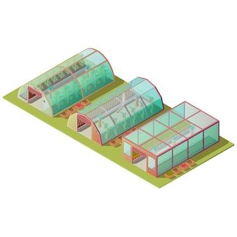 Geïsoleerde isometrische broeikasgassen en boerderijgebouwen