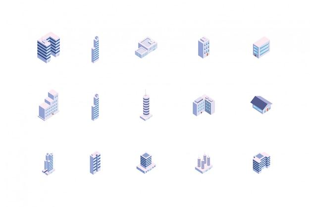 Geïsoleerde isometrische witte stadsgebouwen set