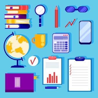 Geïsoleerde items om te leren. bedrijfsconcept. schoolbenodigdheden op tafel. cartoon stijl