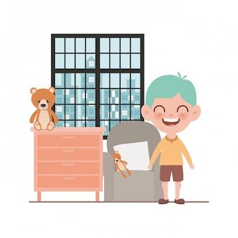 Geïsoleerde jongen cartoon afbeelding