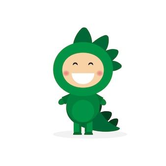 Geïsoleerde jongen verkleed als een dinosaurus