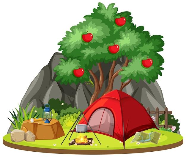 Geïsoleerde kampeerscène