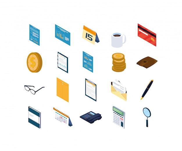 Geïsoleerde kantoor en zakelijke icon set