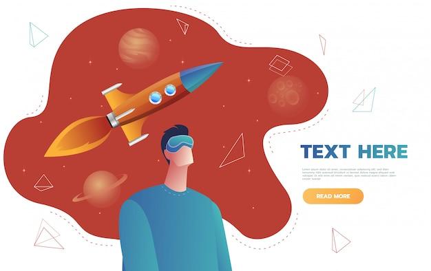 Geïsoleerde karakter jonge man in een virtual reality helm, lancering ruimteraket vlucht. concept van sciencefiction en ruimte, vr. platte cartoon kleurrijke illustratie. Premium Vector