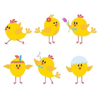Geïsoleerde karakters kippen, clipart.