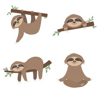 Geïsoleerde karakters zijn luiaards in verschillende poses op bomen.