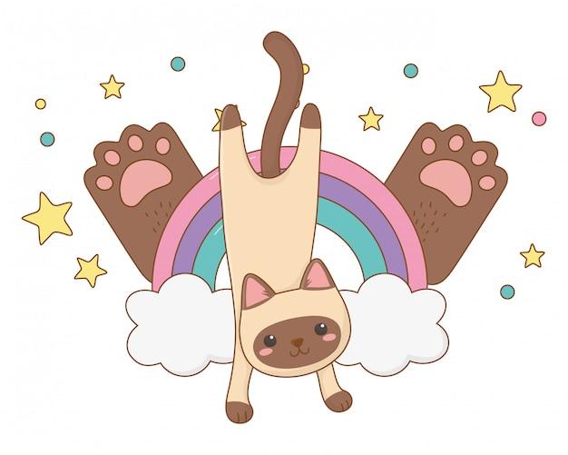 Geïsoleerde kat cartoon clip-art illustratie
