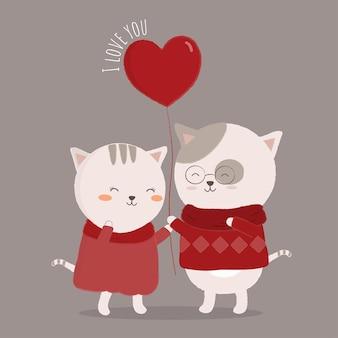 Geïsoleerde kat cartoon paar liefde met elkaar omarmen.