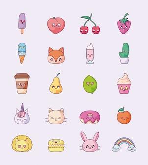 Geïsoleerde kawaii cartoons icon set vector design