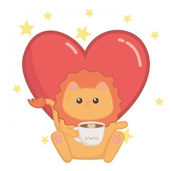 Geïsoleerde kawaii van leeuw cartoon