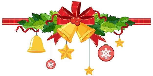 Geïsoleerde kerstklokken en lint voor decoratie