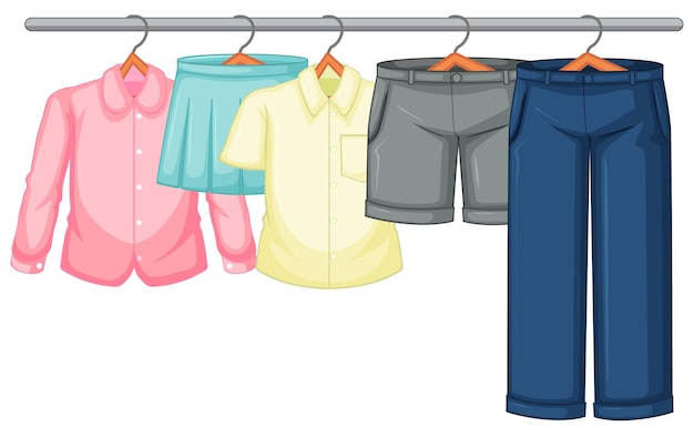 Geïsoleerde kleding op het rekvertoning