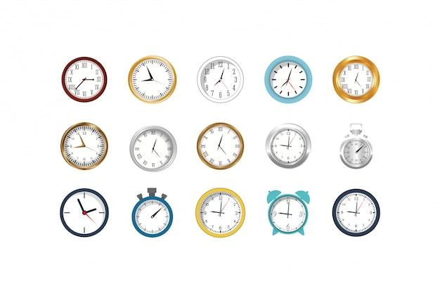 Geïsoleerde klokken instrumenten icon set