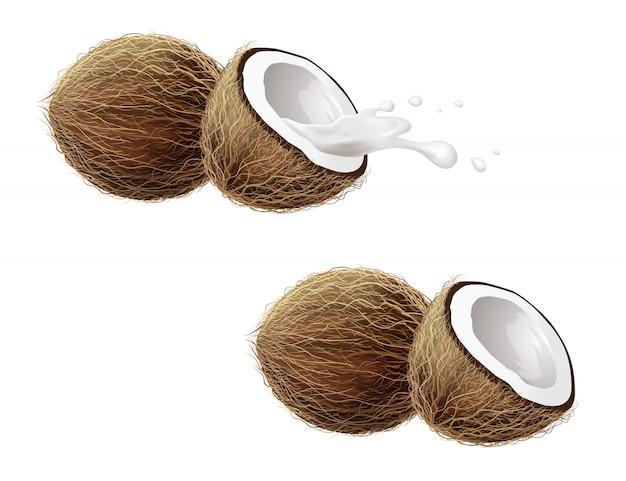 Geïsoleerde kokosnoten en nevel van melk.