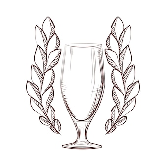 Geïsoleerde lauwerkrans pictogram met een bierglas op witte achtergrond. trofee symbool. concept logo. vector illustratie