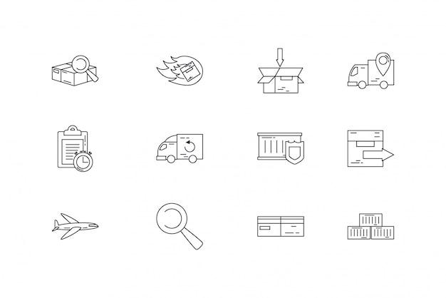 Geïsoleerde levering icon set