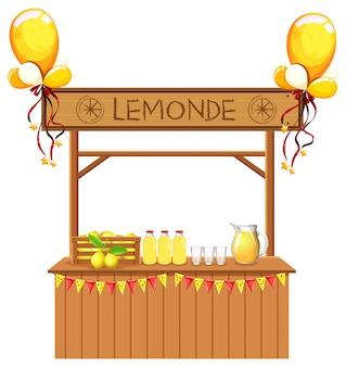 Geïsoleerde limonadekraam op witte achtergrond