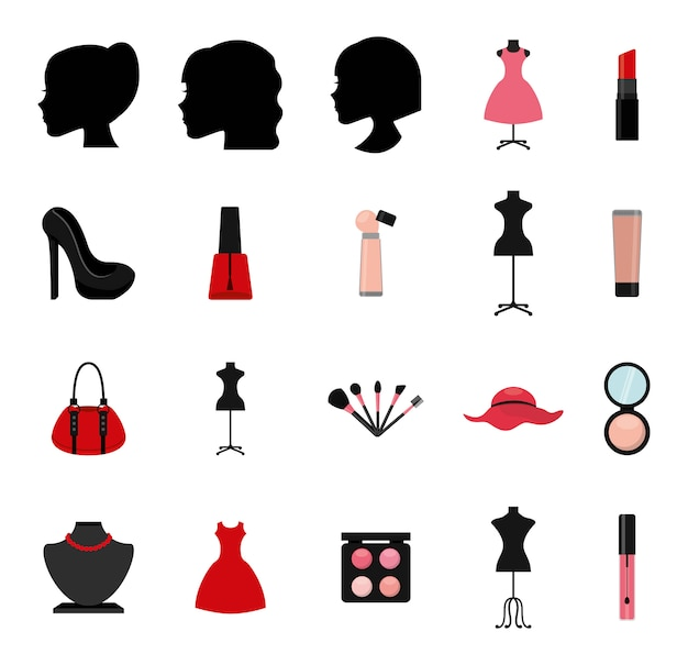 Geïsoleerde make-up icon set