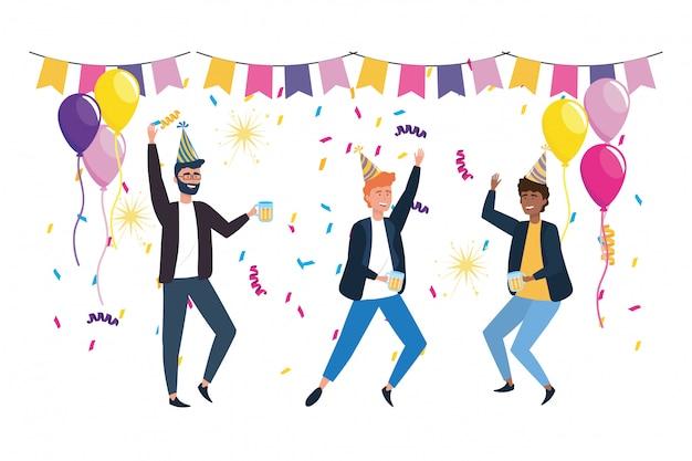 Geïsoleerde mannen in de viering