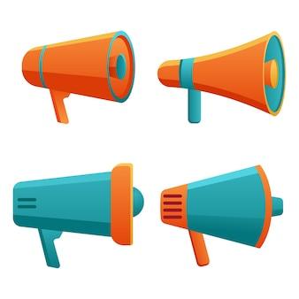 Geïsoleerde megafoon in verschillende kleuren