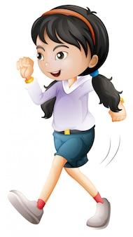 Geïsoleerde meisje karakter lopen