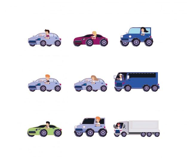 Geïsoleerde mensen binnen voertuigen icon set