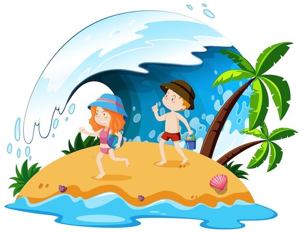 Geïsoleerde mensen op het strand