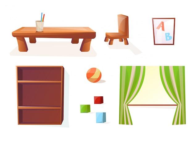 Geïsoleerde meubels voor het interieur van de kinder- of kinderkamer