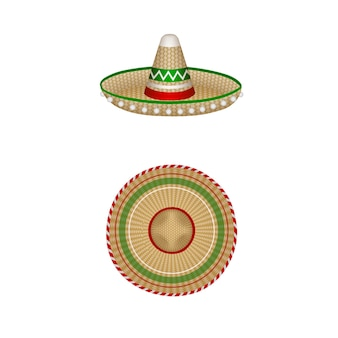 Geïsoleerde mexicaanse sombrero illustratie boven- en zijaanzicht