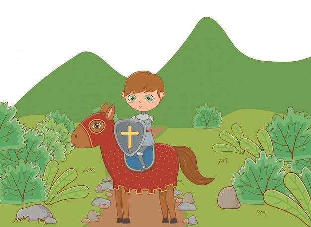 Geïsoleerde middeleeuwse ridderillustratie