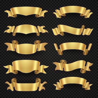 Geïsoleerde moderne gouden glanzende lintbanners