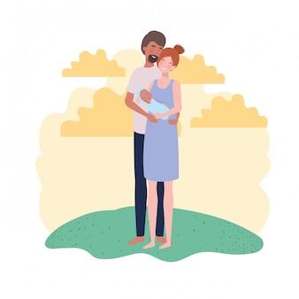 Geïsoleerde moeder en vader met baby