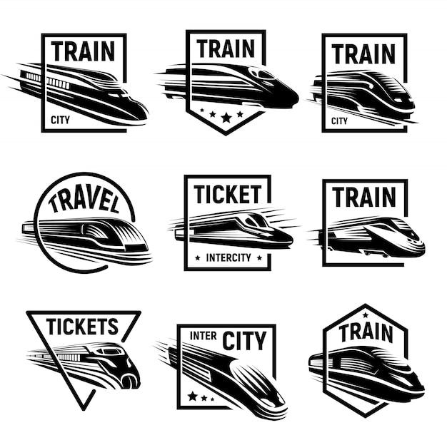 Geïsoleerde monochroom moderne gegraveerde trein logo's set