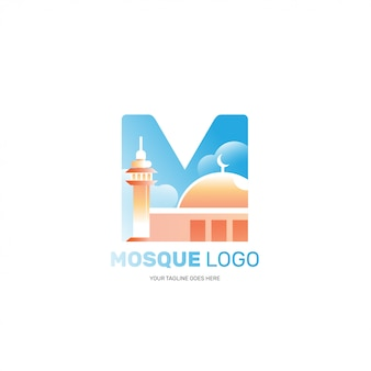 Geïsoleerde moskee-logo voor islamitische moslim bedrijfsbranding