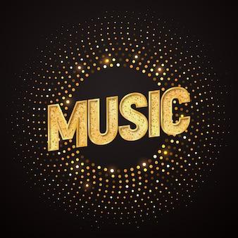 Geïsoleerde muziek gouden typografie