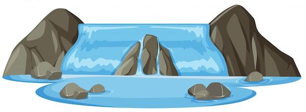Geïsoleerde natuurlijke waterval witte achtergrond