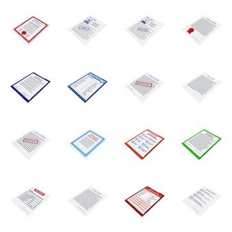 Geïsoleerde object bedrijfs- en briefpapier teken. bedrijfs- en id-aandelensymbool instellen.