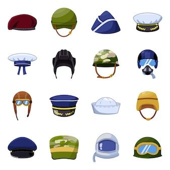 Geïsoleerde object van leger en officier logo. verzameling van leger en soldaat set